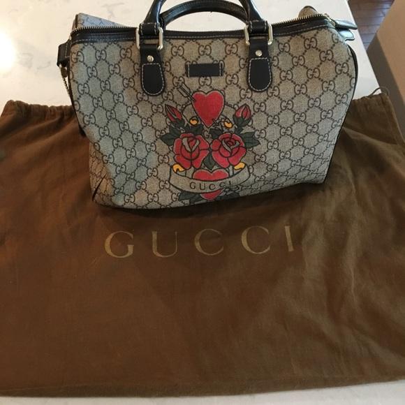 32d951ed9ce Gucci Handbags - Gucci purse rose heart tattoo limited edition bag